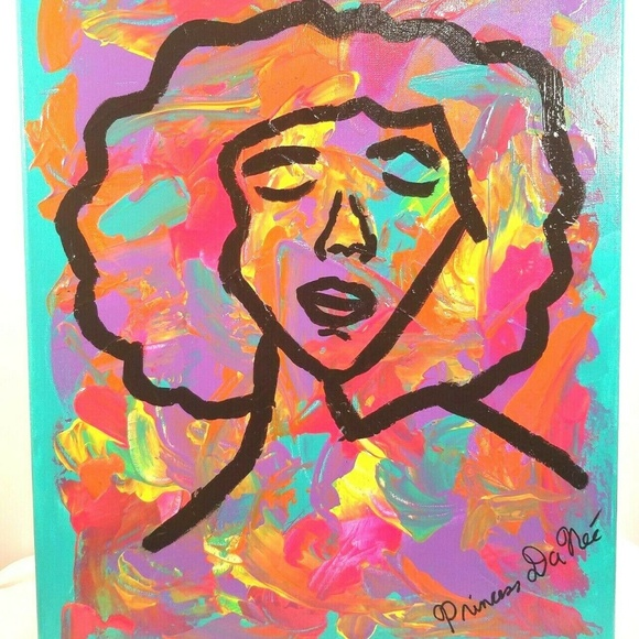 Princess DaNee' Other - Original Abstract Neon Painting 16 X 20 Canvas